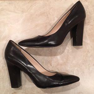 Black leather block heel pumps